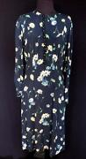 Very Rare Vintage 1940and039s Wwii Era Blue Floral Silk Crepe Dress Size 8-10