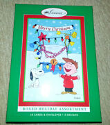 18 Sunrise Peanuts Christmas Cards Snoopy Charlie Brown Boxed Set 3 Designs New