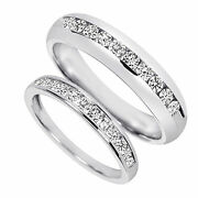 Valentines Day 7/8 Ct D/vvs1 His And Hers Wedding Band Set 10k White Gold