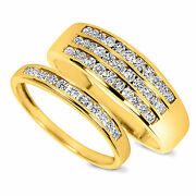Valentines Day 7/8 Ct D/vvs1 His And Hers Wedding Rings 10k Yellow Gold