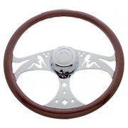 Freightliner 1989-july 2006 Chrome Lady Cut Out 18 Steering Wheel Semi Truck