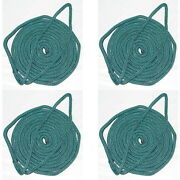 4 Pack Of 3/8 X 15 Ft Forest Green Double Braid Nylon Mooring And Docking Lines