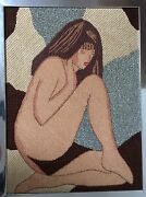 Completed Abstract Nude Woman 13x18 Needlepoint Specialty Stitches Framed Brown