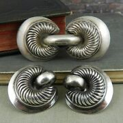 Monet Sterling Silver Brooch/ Pin And Clip Earrings Set
