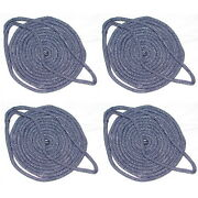 4 Pack Of 5/8 X 25 Ft Navy Blue Double Braid Nylon Mooring And Docking Lines