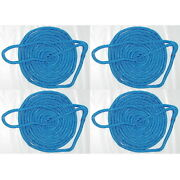 4 Pack Of 5/8 Inch X 25 Ft Blue Double Braid Nylon Mooring And Docking Lines
