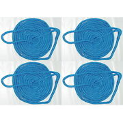 4 Pack Of 5/8 Inch X 35 Ft Blue Double Braid Nylon Mooring And Docking Lines