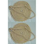 2 Pack Of 3/4 X 25 Ft Gold And White Double Braid Nylon Mooring And Docking Lines