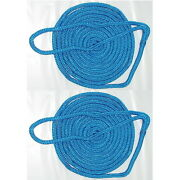 2 Pack Of 3/4 Inch X 50 Ft Blue Double Braid Nylon Mooring And Docking Lines