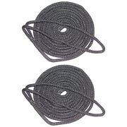 2 Pack Of 3/4 Inch X 50 Ft Black Double Braid Nylon Mooring And Docking Lines