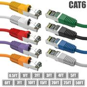 0.5-50ft Cat6 Rj45 Ethernet Network Sstp Shielded Patch Cable Copper 26awg Lot