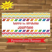 18x30 Rainbow Candy Land Personalized Party Banner, Candy Buffet Table Decor
