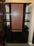 Dramatic James Mont Cabinet, Bookcase Cane/wood Display Sideboard, Etegere