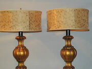 Pair 1950andrsquos Gilt Wood Italian Urn-styletable Lamps Lamp Custom Hand-made Shades