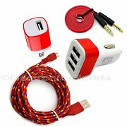 Car And Wall Charger Plus Audio And Micro Usb Braided Cord Cable For Android Phone