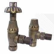 Traditional Antique Brass Victorian Thermostatic Angled Radiator Valve Pair Trv