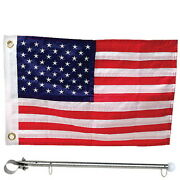 12 X 18 Deluxe Sewn United States / American Rail Mount Flag Kit For Boats