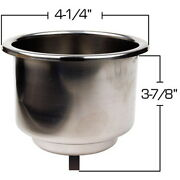 Recessed Mount Stainless Steel Drink Holder For Boats - Fits 3-5/8 Inch Hole