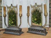Pair Working 20s 30s Gothic Funeral Parlor Mirrored Candle Table Lamps Cathedral
