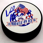Neal Broten Signed 1980 Olympic Hockey Signed Puck Miracle On Ice 000008