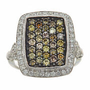14k White Gold Round Ideal Cut Fancy Color Vs2 Diamonds Hammered Finish Ring 6.5