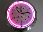 Ford Mustang Motors Auto Garage Man Cave Red Purple Neon Analog Wall Clock