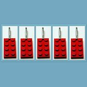 5 - 1000 Lot Zipper Pull W/ Lego 2x4 Red Plate Birthday Party Favor Game Prize