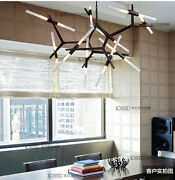 6and10and14and20 Lights Led Glass Tube Branch Suspension Lamp Living Room Ceiling Lamp