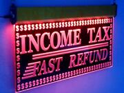 H014 Animated Income Tax Led Open Signs Preparation Neon Light Fast Refund 20x