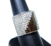 Mens 14k White Gold White And Red Princess Cut Colored Diamond Ring 5.00ct