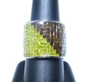 Mens 14k White Gold Red And Canary Yellow Princess Cut Colored Diamond Ring 5.00ct