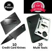 Credit Card Knives 11in1 Multi Tool Wallet Thin Pocket Survival Micro Knife Lot