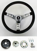 New 1965 - 1969 Mustang Black Steering Wheel Grant 13 1/2 With Chrome Spokes