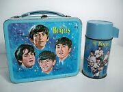 D1043984 Beatles Band Lunchbox And Thermos 1965 Metal Lunch Box Lennon Harrison