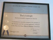 1950 Aetna Life Insurance Company Course Certificate - Framed - 17 X 13