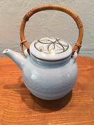 Signed Ceramic Clay Artist Pottery Teapot with Bamboo handle - 6 cup