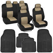 Black And Beige Car Seat Covers 9 Pc Set Complete W/ 4 Pc Black Heavy Duty Mats
