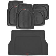 Motortrend 5pc All Weather Floor Mats And Cargo Set - Black Tough Rubber Deep Dish