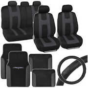 Charcoal Rome Sport Seat Cover 2 Tone Car Floor Mat And Ergo Steering Wheel Cover