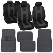 Complete Black / Charcoal Front And Rear Set Car Seat Covers And Beige Floor Mats