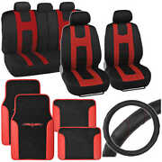 Red Rome Sport Car Seat Cover 2 Tone Car Floor Mat And Ergo Steering Wheel Cover