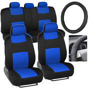 Polycloth Car Seat Covers And Synth Leather Steering Wheel Cover - Blue 10pc Set