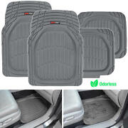 Motor Trend Flextough 4pc Rubber Floor Mats - Thick Heavy Duty All Weather Gray
