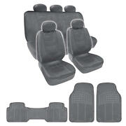 Complete Set Gray Pu Leather Seat Covers And Gray 3 Piece Pvc Mats Bdk Design