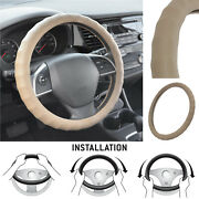 Real Leather Car Steering Wheel Cover M Size Semi Custom Fit Car Suv Truck Beige
