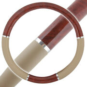 Wood Grain Steering Wheel Cover For Auto Car Suv Lux Grip Beige Syn Leather