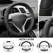 Synthetic Leather Steering Wheel Cover Black W/ Beige Stitching Sport Grip Small