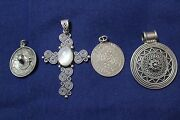 Group Of 4 Central American Design Sterling Silver 925 Pendants