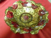 Magnificent .antique Goofus Glass Candy Dish.. 1920and039s..probably Indiana Glass