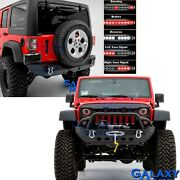 Recovery Front+rear Bumper+led Tail Light Bar+winch Plate For 07-18 Jk Wrangler